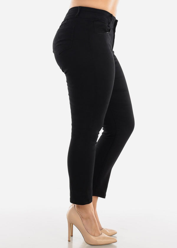 Mid Rise Black Ankle Jeans