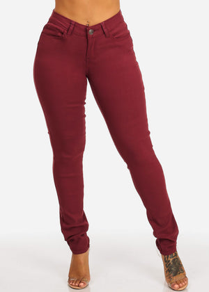 Burgundy Butt Lifting Skinny Jeans