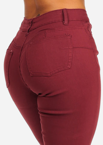 Image of Burgundy Butt Lifting Skinny Jeans