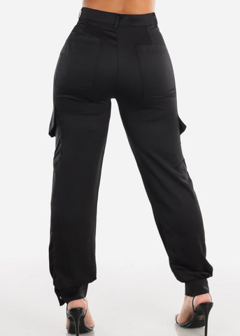 Image of Glossy High Rise Black Dressy Pants