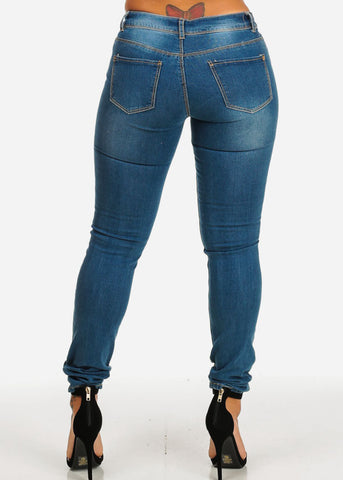 Ripped  Med Wash Skinny Denim Jeans