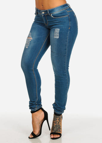 Image of Ripped  Med Wash Skinny Denim Jeans