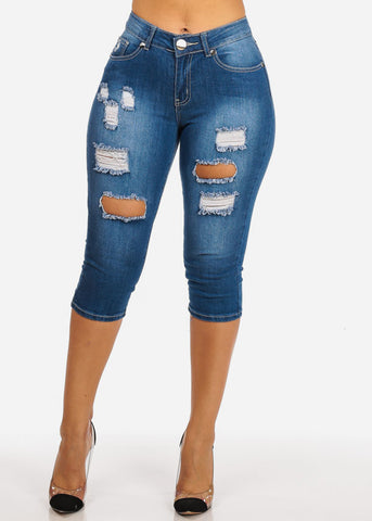 High Waisted Ripped Med Wash Capri Jeans