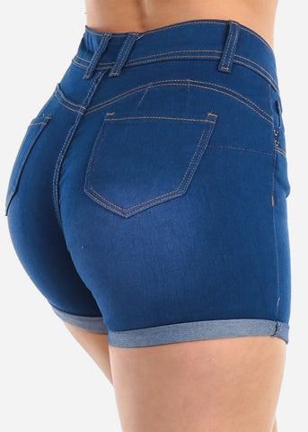 Image of Low Rise Butt Lifting Levanta Cola Colombian Design 2 Button Med Wash Denim Shorts For Women Ladies Junior