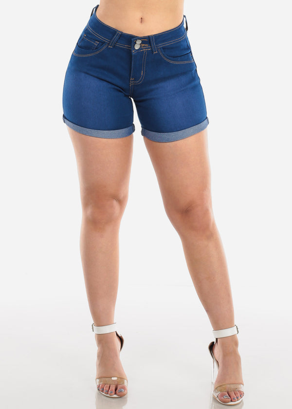 Low Rise Butt Lifting Levanta Cola Colombian Design 2 Button Med Wash Denim Shorts For Women Ladies Junior
