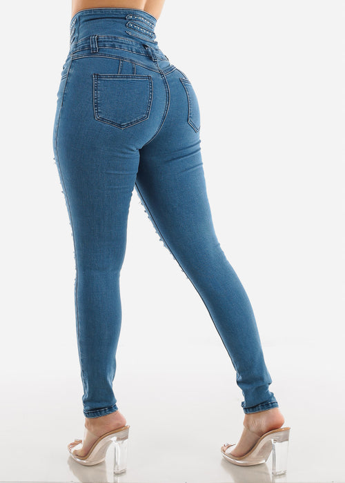 Med Wash Torn High Rise Corset Skinny Jeans