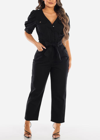 Image of Belted Black Cotton Jumpsuit