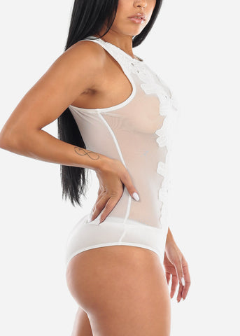Image of Floral Sheer White Bodysuit
