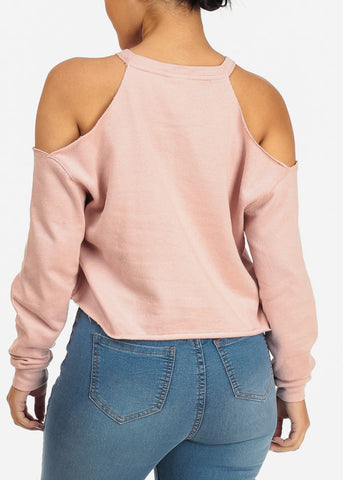 Cozy Cold Shoulder Rose Top