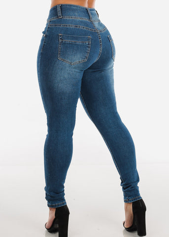 Image of Med Wash Torn Skinny Jeans