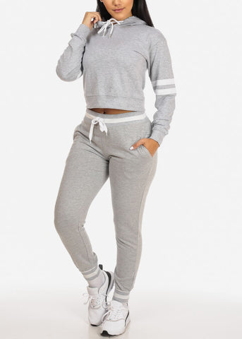 Image of Grey Cropped Pullover Sweatshirt