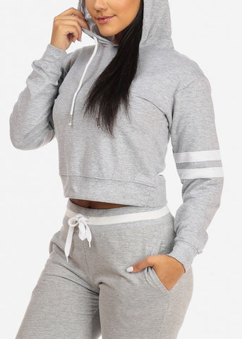 Grey Cropped Pullover Sweatshirt
