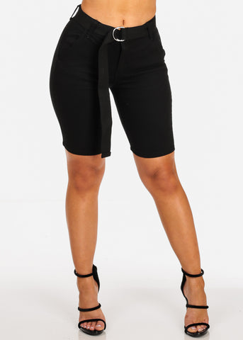 Cute Stylish Mid Rise Black Bermuda Shorts