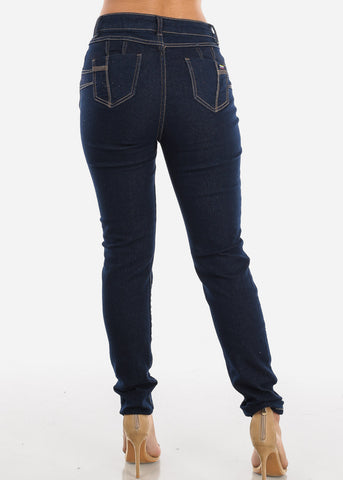 Image of Dark Wash Distressed Skinny Jeans