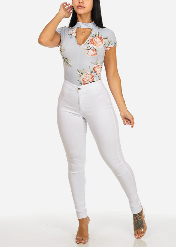 White High Waist Slim Fit Skinny Pants