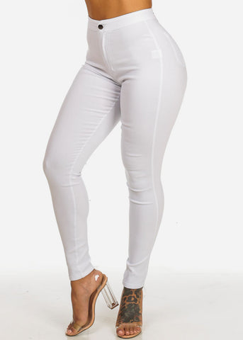 Image of White High Waist Slim Fit Skinny Pants