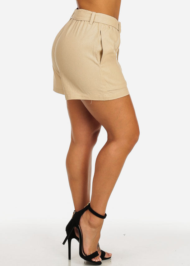 Belted High Rise Beige Linen Shorts
