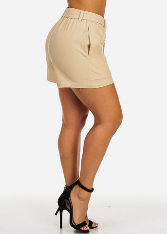 Image of Belted High Rise Beige Linen Shorts