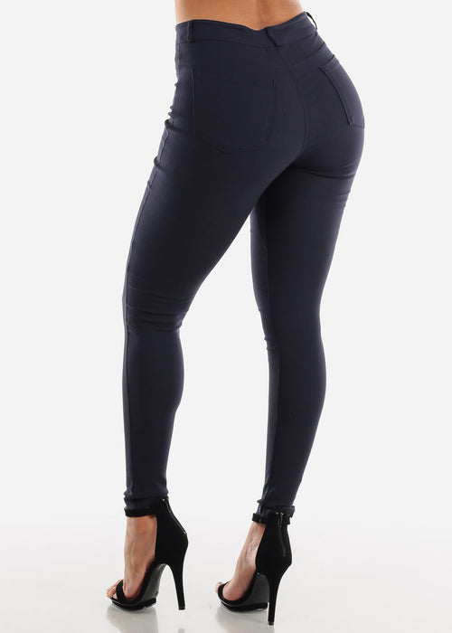 Navy High Waisted Skinny Pants