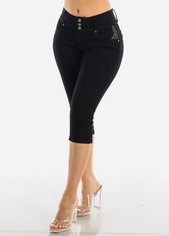 Image of Butt Lifting Black Denim Capris
