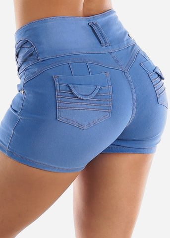 High Waisted Butt Lifting Light Denim Shorts