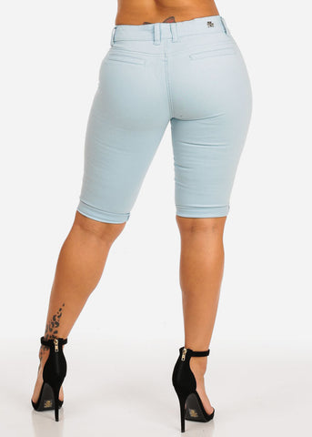 Image of High Waisted Light Blue Bermuda Shorts