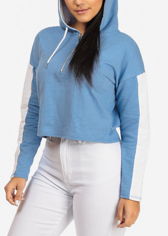 Image of Blue Cropped Pullover Sweatshirt