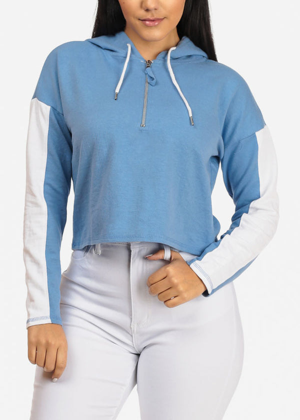 Blue Cropped Pullover Sweatshirt