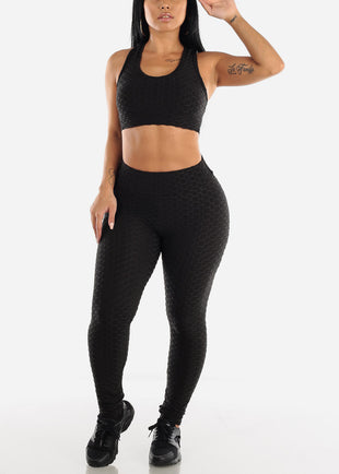 Anti Cellulite Black Sports Bra & Leggings  (2 PCE SET)