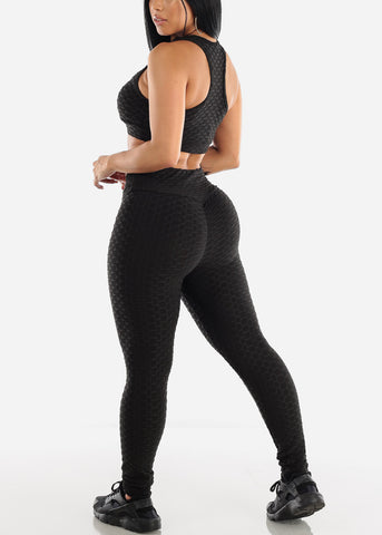 Image of Anti Cellulite Black Sports Bra & Leggings  (2 PCE SET)