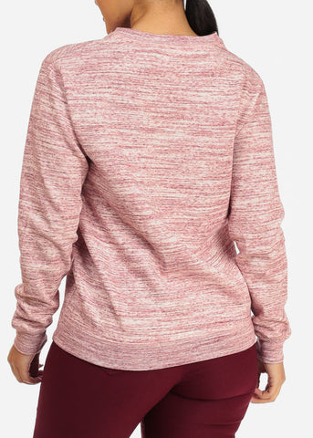 Image of Cozy Heather Rose Pullover Sweatshirt