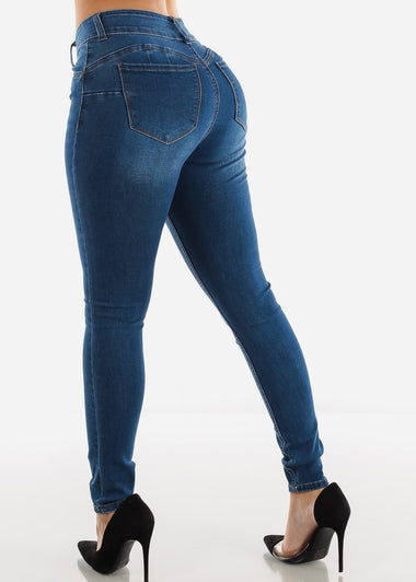 Butt Lifting Button Up Med Wash Skinny Jeans
