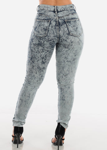 Image of High Waisted Acid Wash Fishnet Distressed Stretchy Skinny Jeans