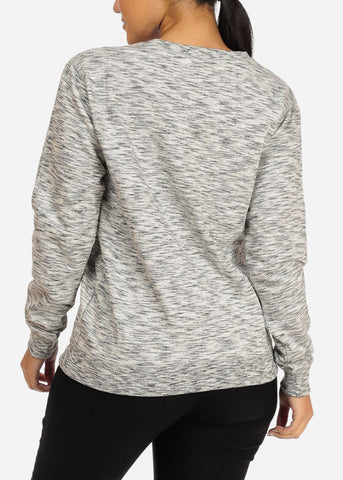 Cozy Heather Grey Pullover Sweatshirt