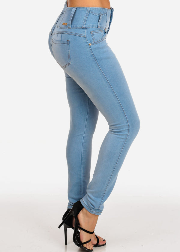 Mid Rise 3 Button Light Wash Butt Lifting Levanta Cola Light Wash Skinny Jeans