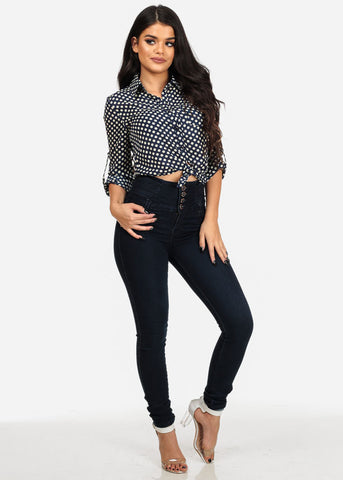 Levanta Cola High Waisted Dark Wash Skinny Jeans