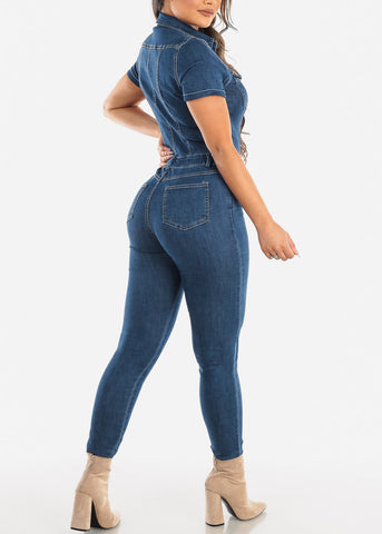 Short Sleeve Med Wash Denim Jumpsuit