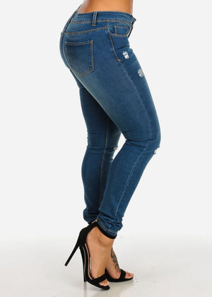 Low Waist Ripped Wash Denim Jeans