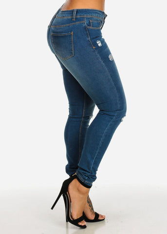 Image of Low Waist Ripped Wash Denim Jeans