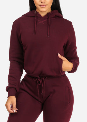 Solid Burgundy Sweater W Hood