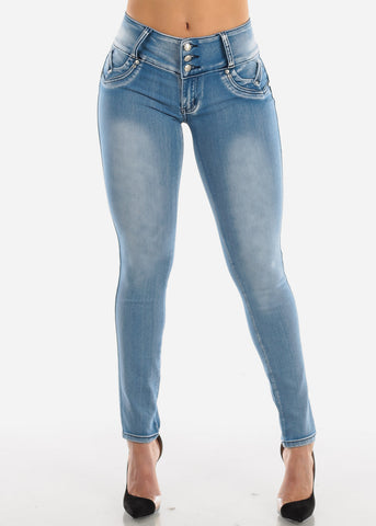 Levanta Cola Acid Wash Skinny Jeans