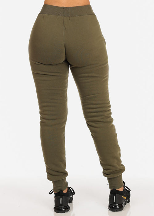 High Waisted Green Jogger Pants