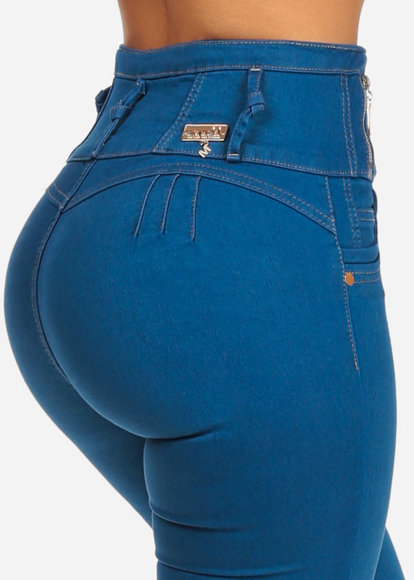 High Waisted Blue Butt Lifting Skinny Jeans