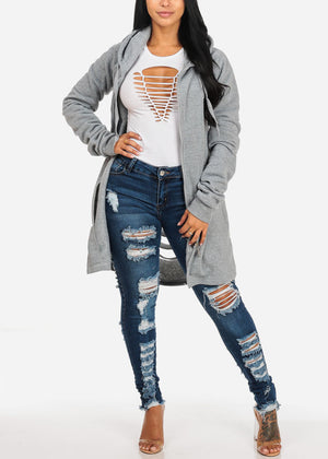 Mid Rise Allover Distressed  Med Skinny Jeans