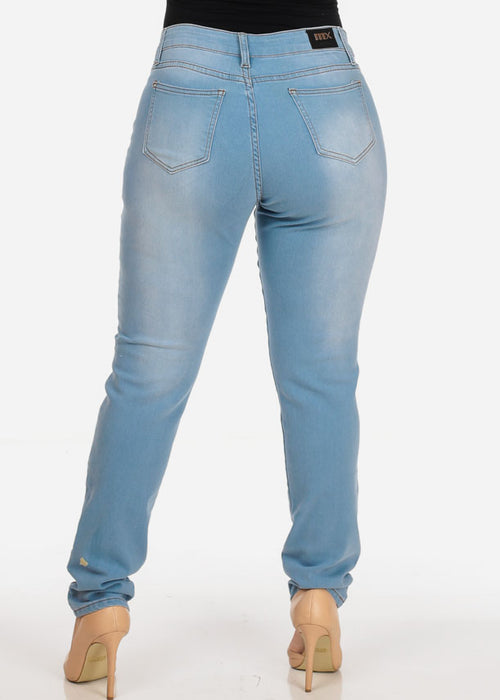 Women's Stylish Curvy Super Stretchy Body Sculpting Plus Size blue Skinny Jeans