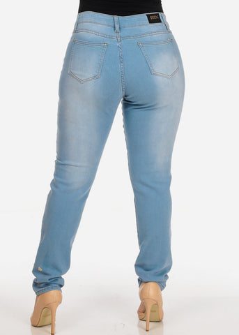 Image of Women's Stylish Curvy Super Stretchy Body Sculpting Plus Size blue Skinny Jeans