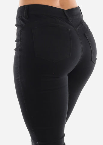 Image of Mid Rise Levanta Cola Black Skinny Jeans