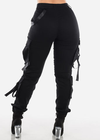 Image of High Rise Black Cargo Pants