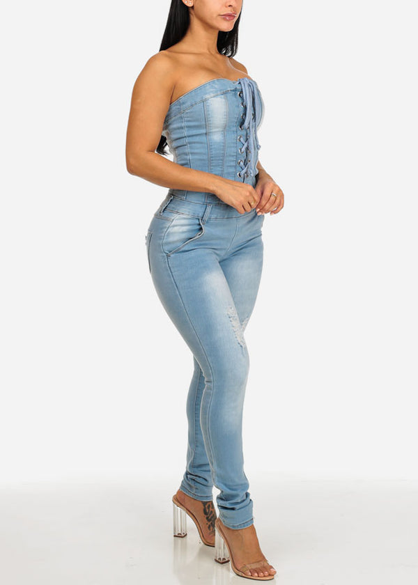 Lace Up Bodycon Denim Jumpsuit