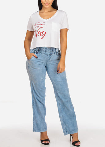 Image of Elastic High Waisted Light Wide Leg Jeans